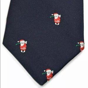 Vintage Christmas Tie Santa Playing Golf Alynn
